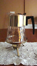 VTG Douglas Flameproof Glass Coffee/Tea Carafe w/Warming Stand-Gold Wheat&Flower