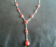 Red facetted drop necklace (neck 126)