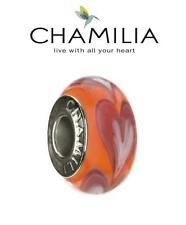 Genuine CHAMILIA 925 silver ORANGE ROW OF HEARTS Murano glass charm bead RRP £30