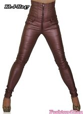 Womens High Waisted Leather Look Trousers Ladies Skinny Pants Size 6,8,10,12,14
