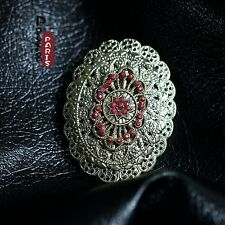Broche Ovale AB Fleur Metallique Vintage Style Original Soirée Mariage XZ 2