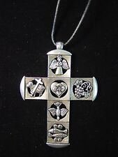 """JJ"" Jonette Jewelry Bright Silver Pewter 30"" CROSS Religious Symbols Necklace"