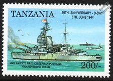 D-Day HMS WARSPITE (03) Battleship Warship Fires on German Positions WWII Stamp