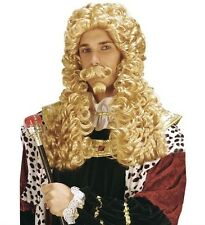 Men's Blonde Medieval Curly Wig & Beard French Baroque Royal King Fancy Dress