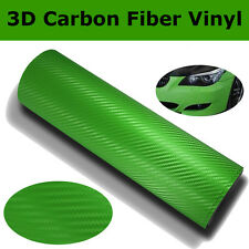 "12""x100"" 3D Green Carbon Fiber Vinyl Car Wrap Sheet Roll Film Sticker Decal"