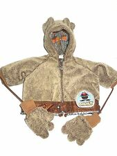 OILILY  BABY INFANT WINTER COAT W/ MITTENS, INSULATED BEIGE BROWN SZ 62/6 MONTHS