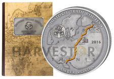 2016 HISTORIC TRADE ROUTES - AMBER ROAD - 5 OZ. SILVER COIN WITH CASE & COA NEW