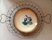 Vintage Beautiful Wire Basket with VTG Bluebell Flower Plate, Heart Handles
