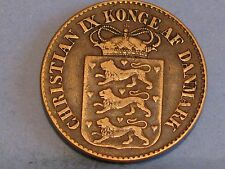 DENMARK  WEST INDIES  BRONZE 1 CENT COIN  DATED 1868