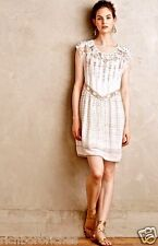 NEW Anthropologie Calliope Embroidered Swing Dress white taupe chiffon S $148