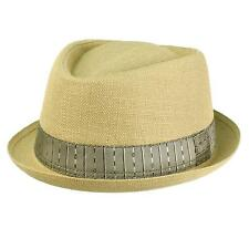 Men's Fancy Hatband Porkpie Derby Fedora Stingy Curl Brim Hat Natural S/M 56cm
