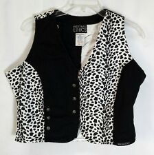 WESTERN ETHICS Womens XL Vest Zip Top Black White COTTON Denim NICE!