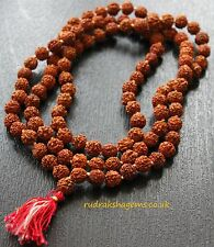 Rudraksha 10mm Japa Mala with knots 108 +1 Beads Yoga Hindu Prayer Meditation