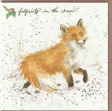 "Country Set Christmas  Card  Wrendale Designs Fox ""Footprtints in the Snow"""