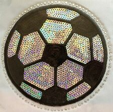 Iron On Transfer Applique Rhinestone and Silver Sequin Soccer Ball Sport