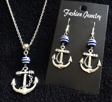 Anchor Necklace + Earrings *SET* Blue And White Stripe Nautical Rockabilly *UK*