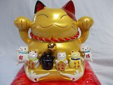 "8"" LUCKY CAT GOLD JAPANESE CERAMIC COIN PIGGY BANK GIFT FENG SHUI FORTUNE DJINN"