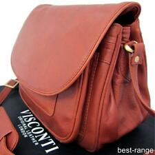 Ladies Shoulder Bag Saddle Messenger Brown Soft Leather Large Visconti New 2195