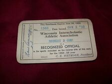 Vintage 1958-59 Wisconsin (WIAA) HS Referee Card, Basketball/Track. Robert Ohm.