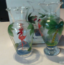"""NEW IN BOX SET 2 FLAMINGO PALM TREES BUD VASES 6 1/2"""" TALL"""