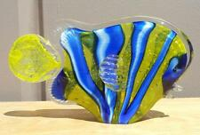 "New 11"" Hand Blown Art Glass Angel Fish Figurine Sculpture Yellow Blue Stripes"