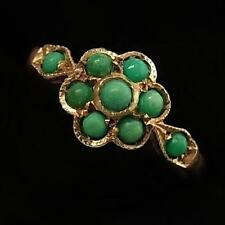 EDWARDIAN STYLE 9CT GOLD AND TURQUOISE FLOWER CLUSTER RING