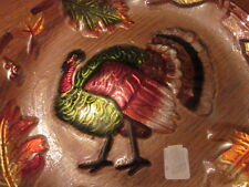 "14"" Noelle Thanksgiving Turkey Reverse Hand Painted Glass Serving Tray Platter"