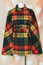VTG 60s MOD Red TARTAN PLAID Wool BELTED Buffalo Cloak SPY CAPE Poncho Coat XS-M