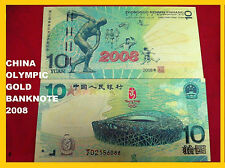 A Piece of China 10 Yuan Beijing Olympic Gold Coloured Banknote/ Paper Money/UNC