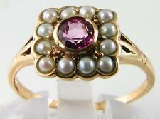 DAINTY 9K ENGLISH ART DECO PINK TOPAZ & SEED PEARL RING