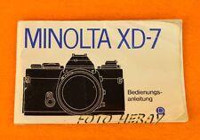 Minolta XD-7 die originale Bedienungsanleitung deutsche Ausgabe 01700