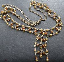 vintage 3 row amber glass bead gold tone chain necklace  -N46