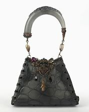 MAYA Charcoal Gray Leather Resin Floral Embellished Jeweled Evening Bag Purse