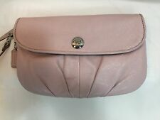 COACH Pink Leather Large Flap Pleated Wristlet/Clutch Wallet 45263