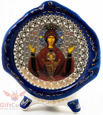 Porcelain gzhel decal plaque Icon of Inexhaustible Chalice Неупиваемая Чаша