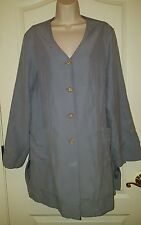 J Jill Gray Silk Linen Coat Jacket Long sz L