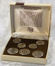 Vtg Stieff Sterling Silver Presidential Inaugural George Washington Button Set