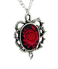 Gothic Thorn Red Rose Vine Cameo Necklace Victorian Pendant Gift Antique Style