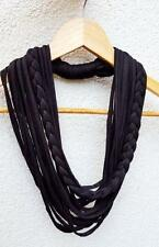 Black Scarf Necklace Fabric T-shirt yarn Necklace Braided Circle Summer Scarves