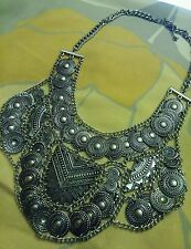 Forever 21 bohemian gypsy Silver coin statement necklace