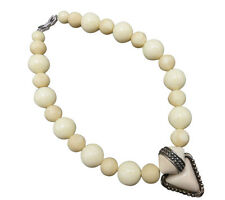 Givenchy Vintage Statement Necklace 16 in Beige Lucite Bead Choker Designer 661f