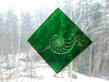 """Green Stained Glass Tropical Sea Shell Chambered Nautilus Slice 5-3/4"""" TriangleD"""