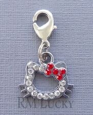 Hello Kitty Rhinestone Red Clip On Charm Fits ink Chain, floating locket C114