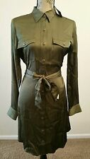LAUREN RALPH LAUREN WOMEN BELT BUTTON DOWN MILITARY SHIRT DRESS OLIVE SZ 12 $150