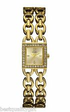 NEW GUESS MULTI STRAND CHAIN LINK GOLD TONE+PAVE CRYSTAL BEZEL SM WATCH W10598L1