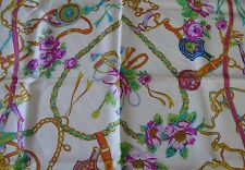Marc Rozier Paris French Equestrian Flower Print Blue Silk Scarf NEW in Box