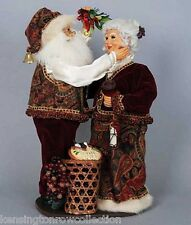 CHRISTMAS DECORATIONS -  WINE SANTA AND MRS CLAUS UNDER THE MISTLETOE