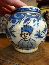 Very Old Rare Early Persian Figurative Pottery Prince Bird Cobalt Blue Vase Pot