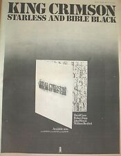 KING CRIMSON  Starless ...1974 UK Poster size Press ADVERT 16x12 inches