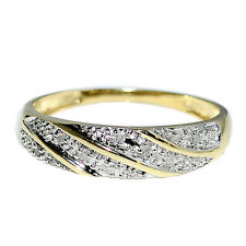 Wedding Band Mens Ring 0.10ct Real Diamonds in 10K Yellow Gold 6mm Wide
